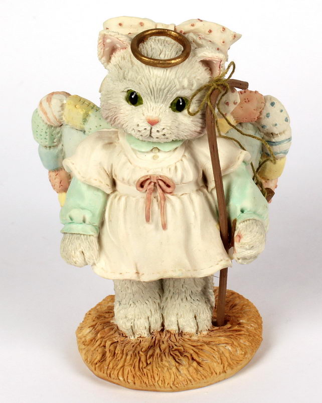 Cherished Teddies Calico Kittens Nativity Angel -