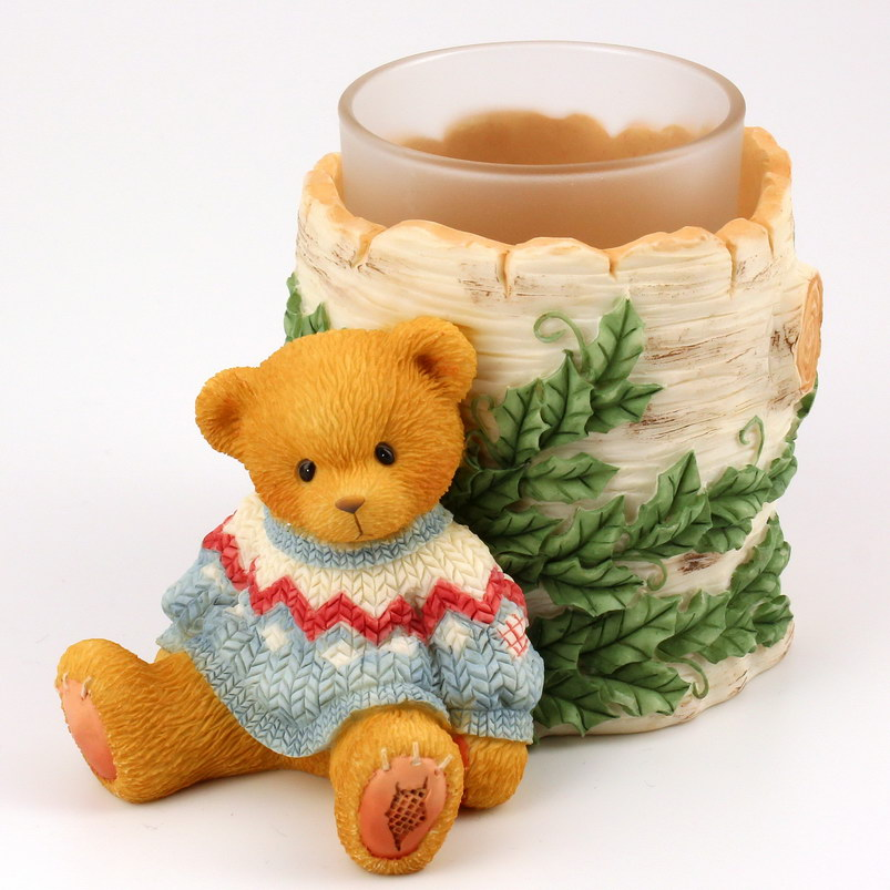 Cherished Teddies Boy with Tree Truck Candle Holder -