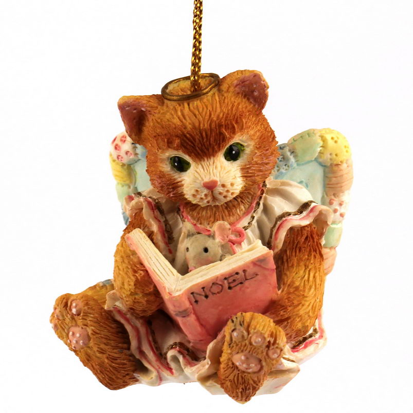 Cherished Teddies Calico Kittens  -  Angel Reading Book -