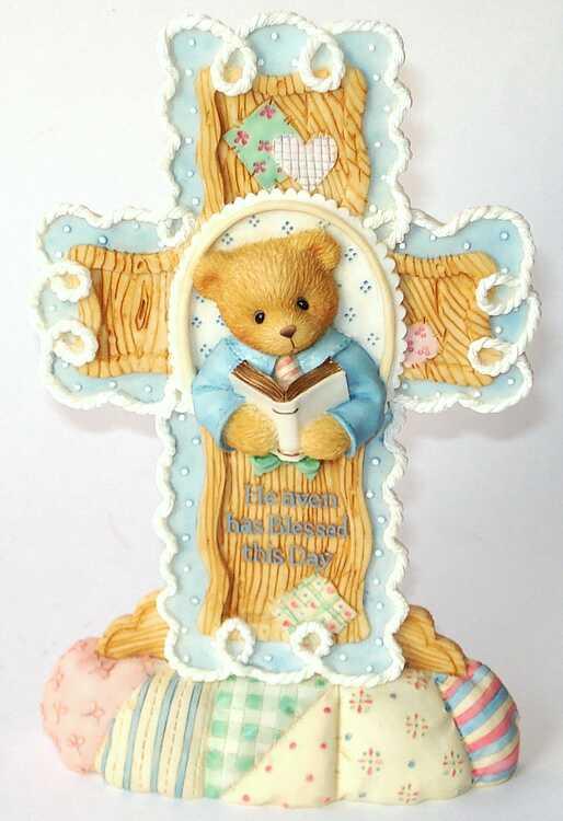 Cherished Teddies Cross Communion Boy Plaque -