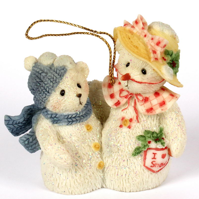 Cherished Teddies Frosty and Aurora Ornament -
