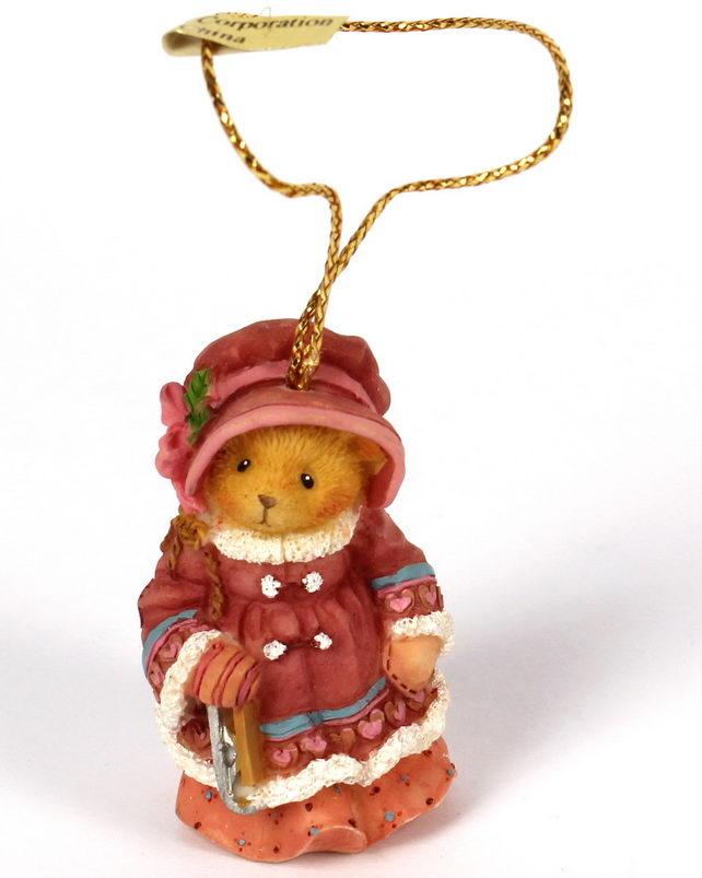 Cherished Teddies GIRL BEAR IN COAT HOLDING ICE SKATES -