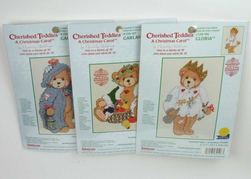 Cherished Teddies GLORIA, GARLAND and GABRIEL 3x Komplettes Stickset -