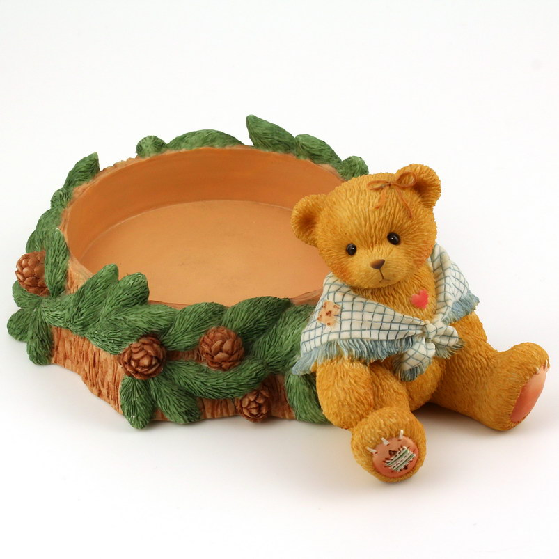 Cherished Teddies Girl With Pinecones Pillar Candleholder -
