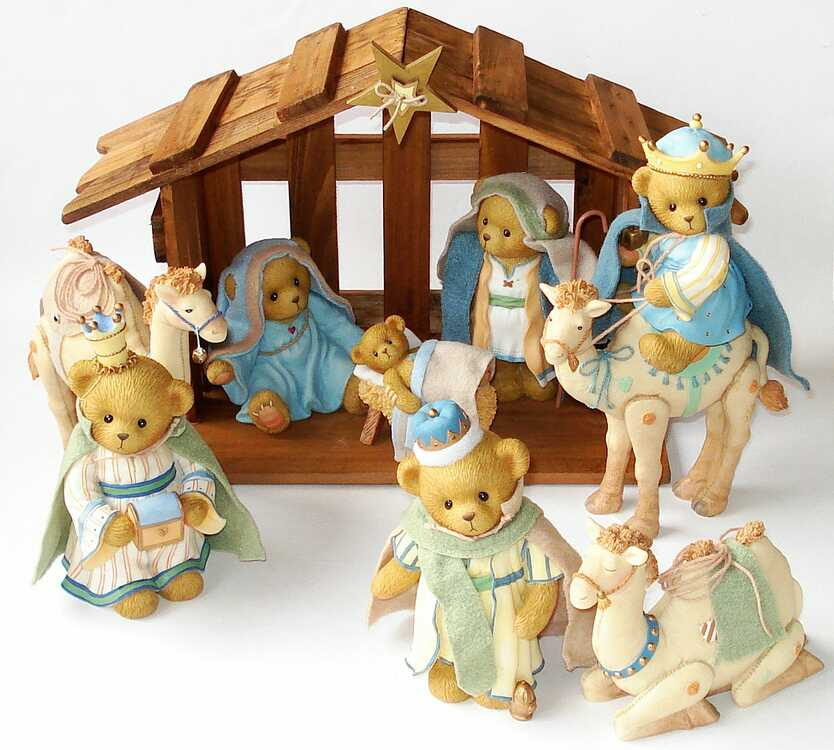 Cherished Teddies Komplettes Krippen / Nativity Set -