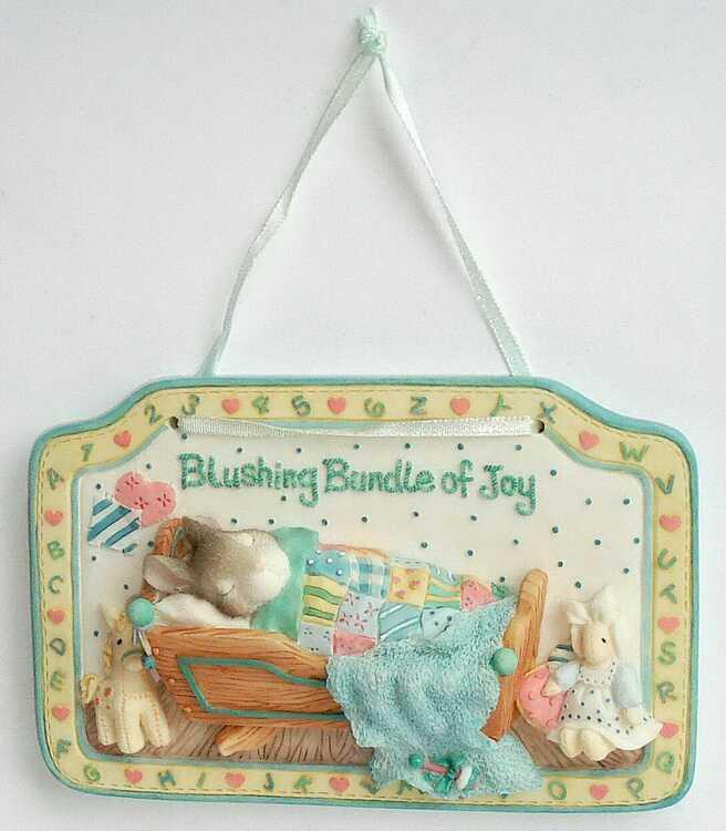 Cherished Teddies MY BLUSHING BUNNIES - WALL PLAQUE -