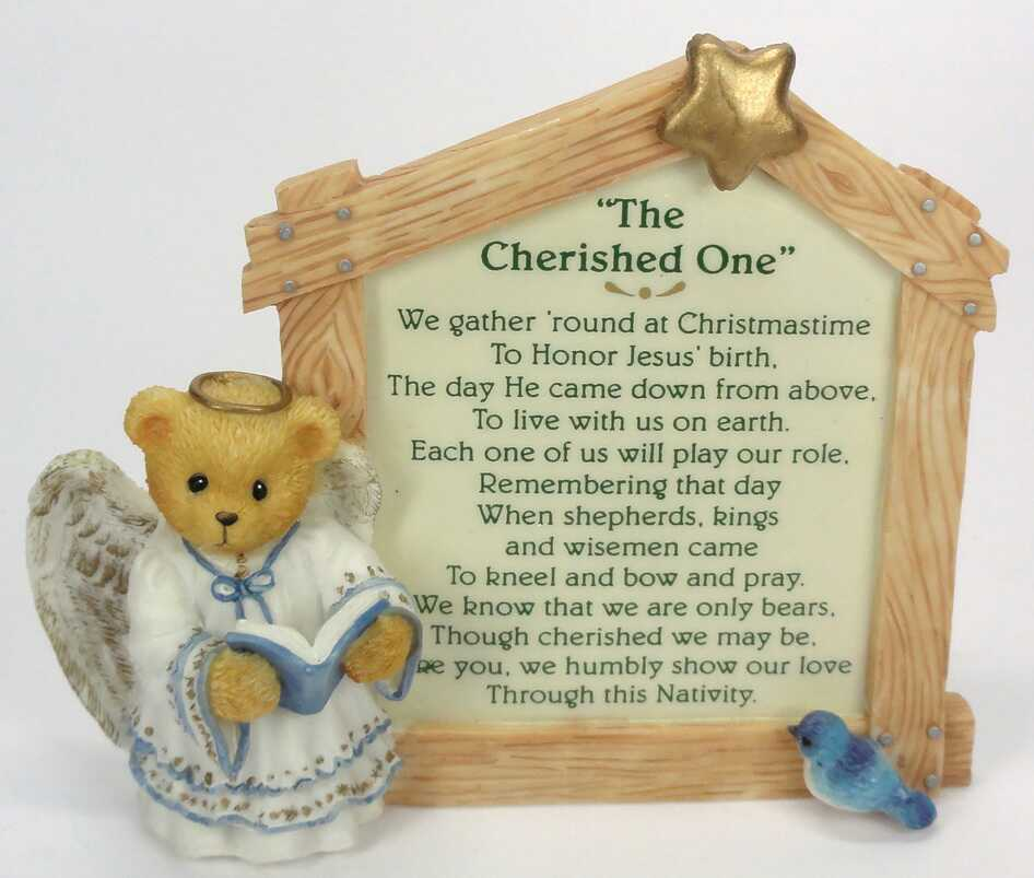 Cherished Teddies Nativity Prayer Plaque  -  Nativity collection -