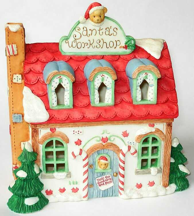 Cherished Teddies SANTA'S WORKSHOP NIGHT LIGHT HOUSE - (141925)
