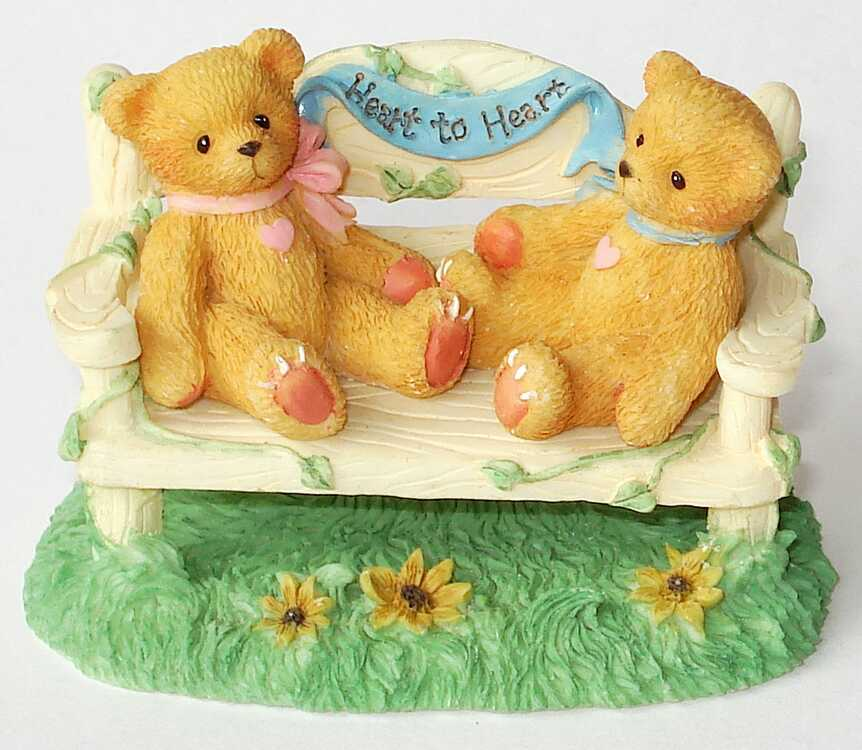 Cherished Teddies TWO BEARS ON BENCH -