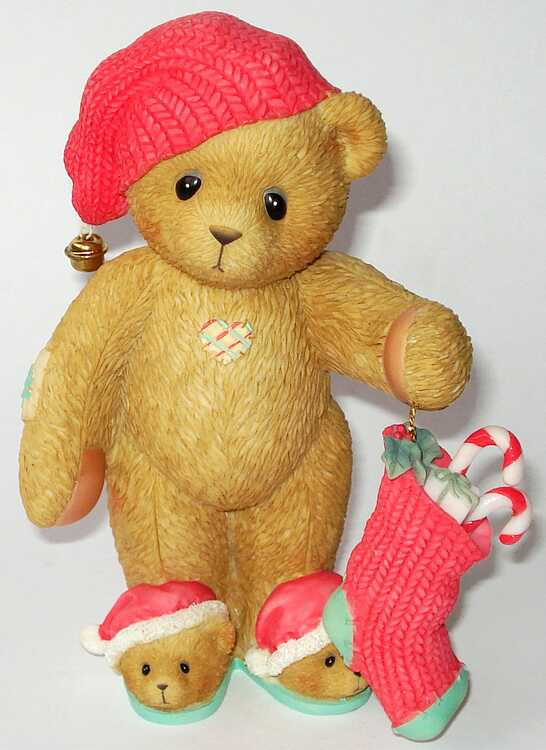 Cherished Teddies BEAR WITH SLIPPERS - CARLTON CARDS -
