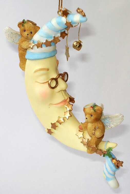 Cherished Teddies ANGEL BEARS ON THE MOON -