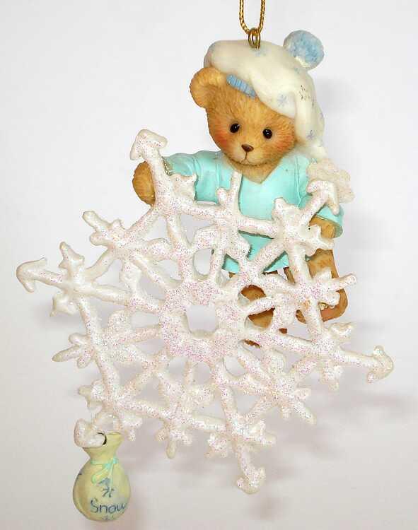 Cherished Teddies BEAR W/ BAG SNOWFLAKE ORNAMENT - CARLTON CARDS -