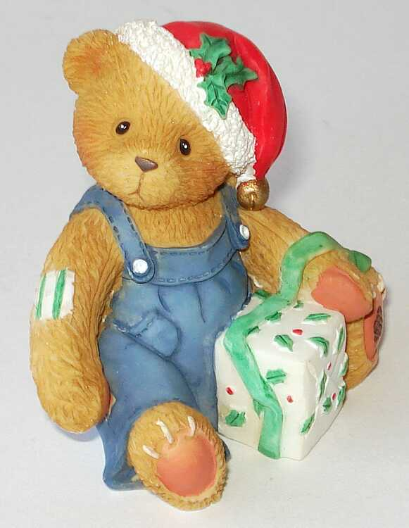 Cherished Teddies Boy With Overalls and Santa's Hat -