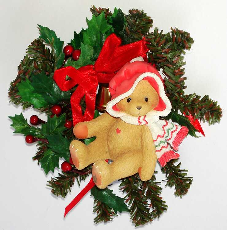 Cherished Teddies GIRL ON CHRISTMAS WREATH -